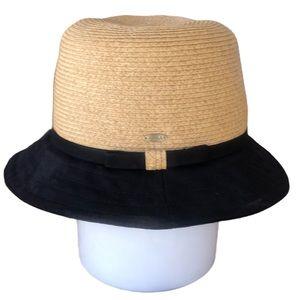 Scala Paper Straw Bucket Hat with Black Brim